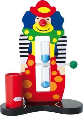 """Houten Tandenborstel houder met klok """"clown"""""""