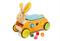 Houten loopauto konijn met vormenspel