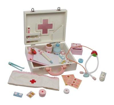 Houten dokterstas met vele accessoires