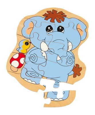 Houten puzzel olifant 10 delig
