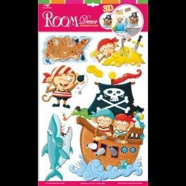 Kinderkamer stickers piraten piratenaapjes muursticker 3D