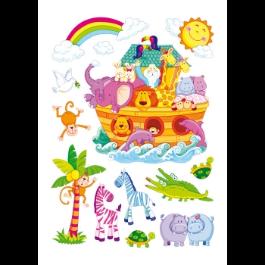 Kamersticker Ark van Noach 13 stickers groot babykamer roomdeco muursticker