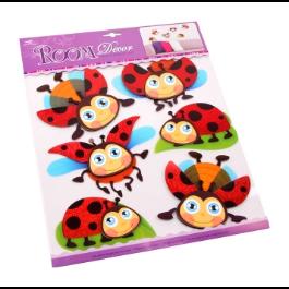 Sticker kinderkamer lieveheersbeestje in 3 D speelkamer sticker, roomdeco 6 stuks muursticker